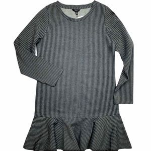 TRESICS GREY STRIPE RUFFLE HEM DRESS